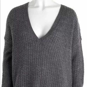 Alice + Olivia Oversized Charcoal V Neck Sweater